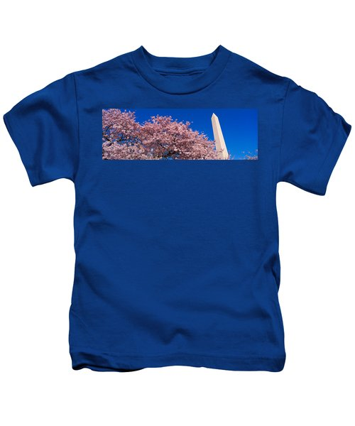 Washington Monument & Spring Cherry Kids T-Shirt by Panoramic Images