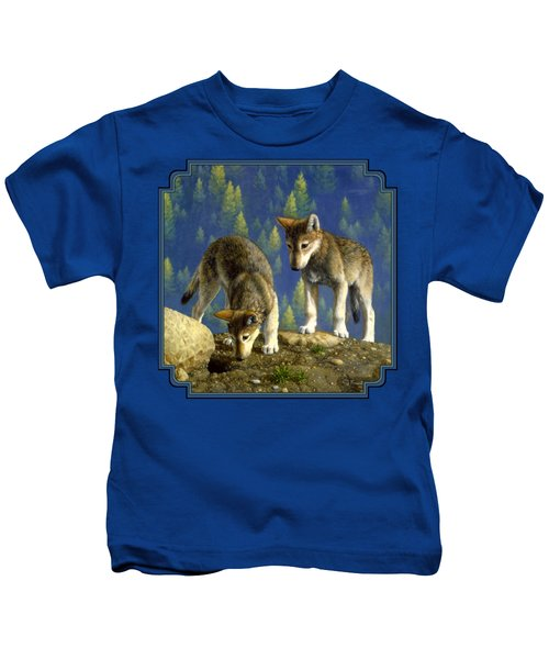 Wolf Pups - Anybody Home Kids T-Shirt by Crista Forest