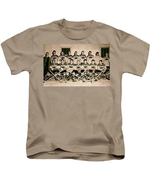 University Of Michigan Hockey Team 1947 Kids T-Shirt by Mountain Dreams
