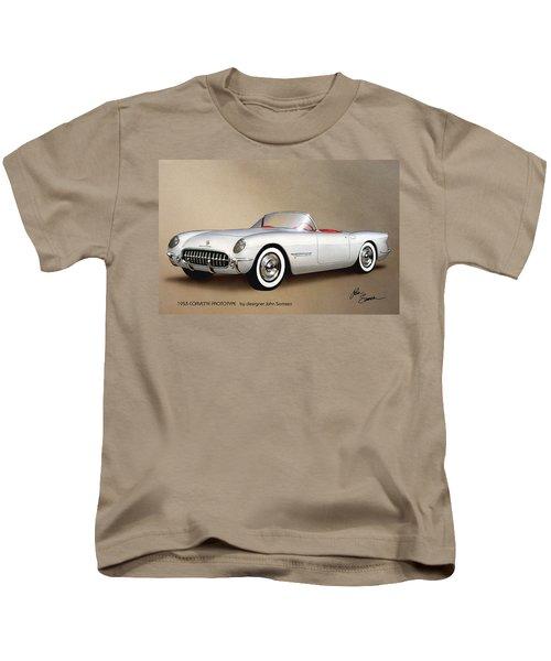 1953 Corvette Classic Vintage Sports Car Automotive Art Kids T-Shirt by John Samsen