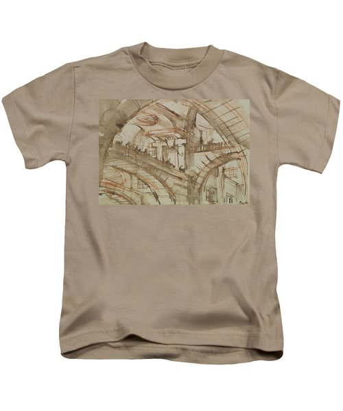 Drawing Of An Imaginary Prison Kids T-Shirt by Giovanni Battista Piranesi