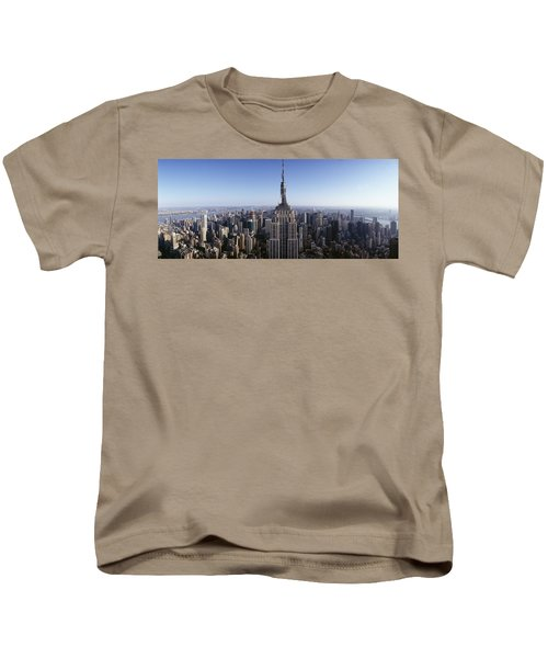 Aerial View Of A Cityscape, Empire Kids T-Shirt by Panoramic Images