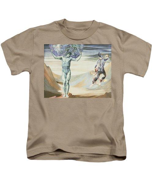 Atlas Turned To Stone, C.1876 Kids T-Shirt by Sir Edward Coley Burne-Jones
