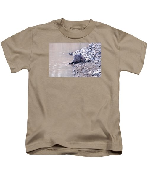 Beaver On Dry Land Kids T-Shirt by Chris Flees
