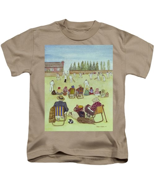 Cricket On The Green, 1987 Watercolour On Paper Kids T-Shirt by Gillian Lawson