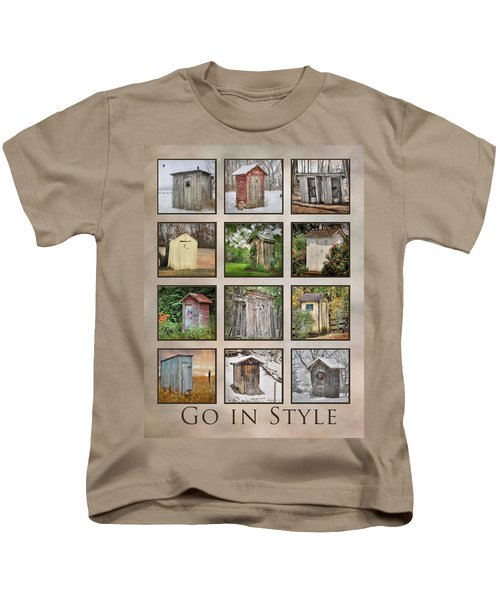 Go In Style - Outhouses Kids T-Shirt by Lori Deiter
