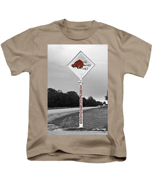 Hog Sign Kids T-Shirt by Scott Pellegrin