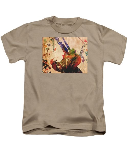 Jimmy Page - Led Zeppelin Kids T-Shirt by Ryan Rock Artist