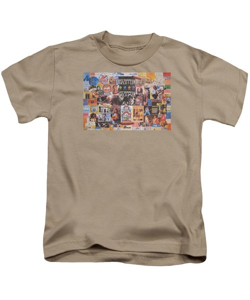 Led Zeppelin Years Collage Kids T-Shirt by Donna Wilson