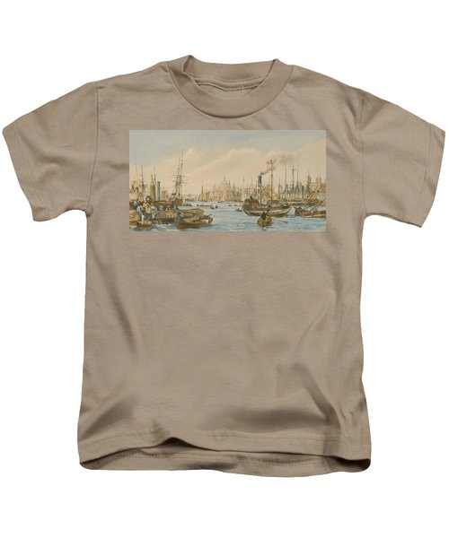 Looking Towards London Bridge Kids T-Shirt by William Parrot