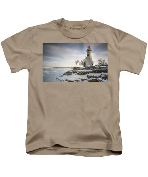 Marblehead Lighthouse Winter Kids T-Shirt by James Dean