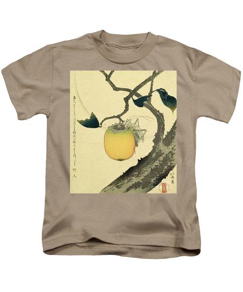 Moon Persimmon And Grasshopper Kids T-Shirt by Katsushika Hokusai