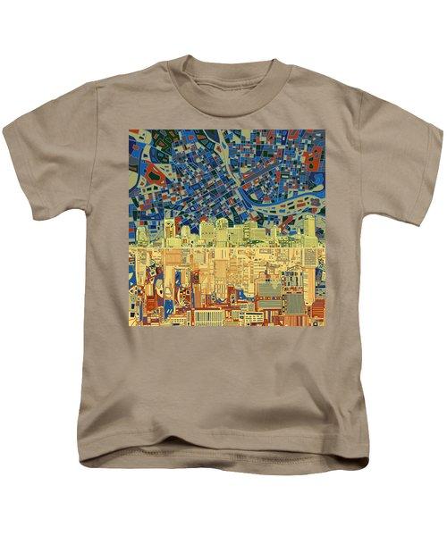 Nashville Skyline Abstract 9 Kids T-Shirt by Bekim Art