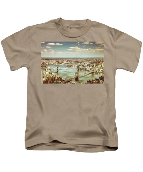 New York City - Brooklyn Bridge And Manhattan Bridge From Above Kids T-Shirt by Vivienne Gucwa