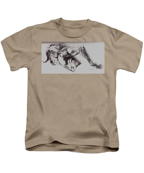 North American Minotaur Pencil Sketch Kids T-Shirt by Derrick Higgins