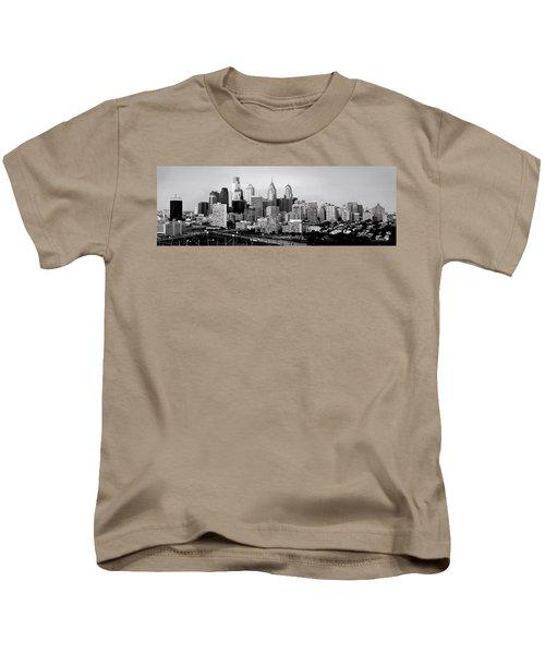 Philadelphia Skyline Black And White Bw Pano Kids T-Shirt by Jon Holiday