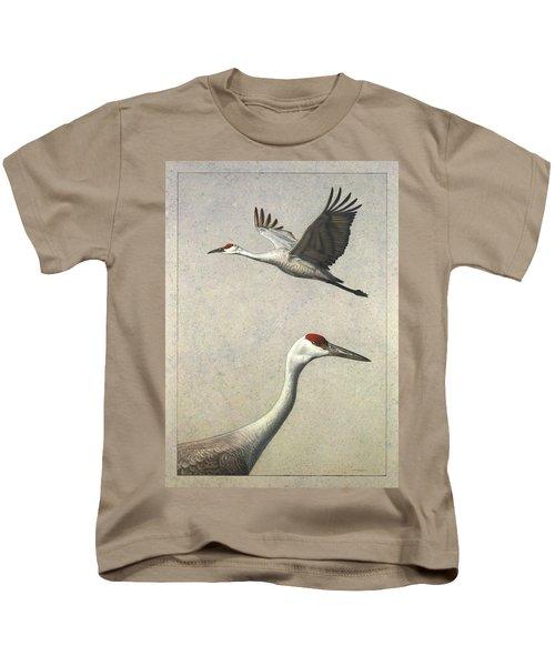 Sandhill Cranes Kids T-Shirt by James W Johnson