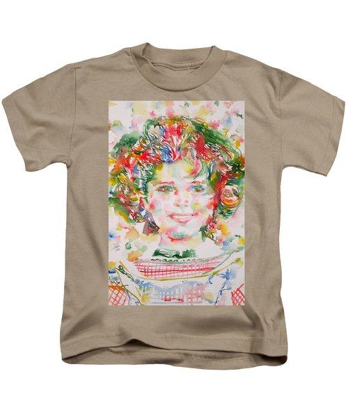 Shirley Temple - Watercolor Portrait.1 Kids T-Shirt by Fabrizio Cassetta