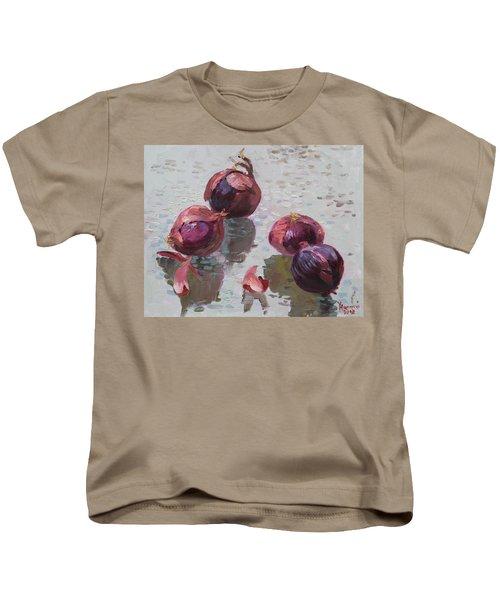 Red Onions Kids T-Shirt by Ylli Haruni
