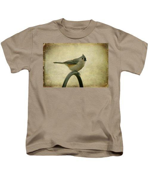 Tufted Titmouse II Kids T-Shirt by Sandy Keeton