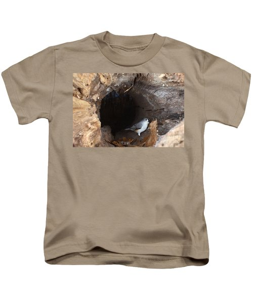 Tufted Titmouse In A Log Kids T-Shirt by Ted Kinsman