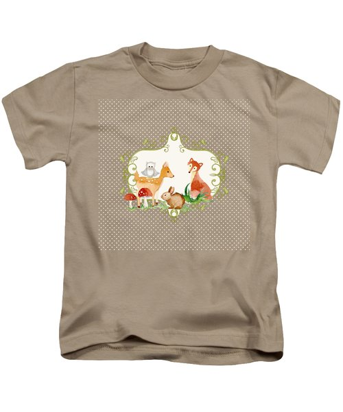 Woodland Fairytale - Animals Deer Owl Fox Bunny N Mushrooms Kids T-Shirt by Audrey Jeanne Roberts
