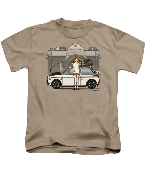 Honda N600 Rally Kei Car With Japanese 60's Asahi Pentax Commercial Girl Kids T-Shirt by Monkey Crisis On Mars