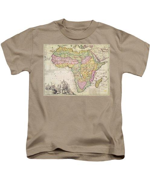 Antique Map Of Africa Kids T-Shirt by Pieter Schenk