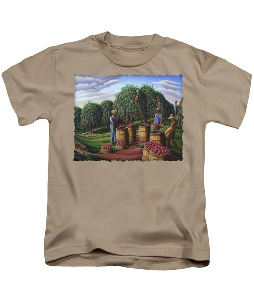 Apple Harvest - Autumn Farmers Orchard Farm Landscape - Folk Art Americana Kids T-Shirt by Walt Curlee