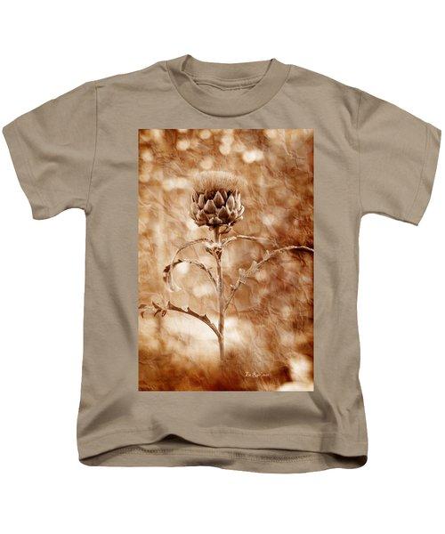 Artichoke Bloom Kids T-Shirt by La Rae  Roberts