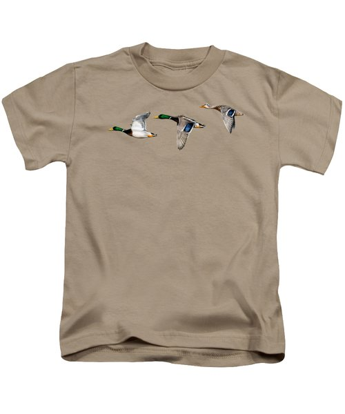 Flying Mallards Kids T-Shirt by Sarah Batalka