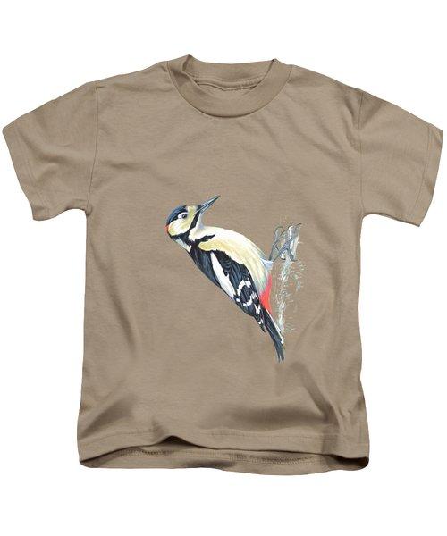 Great Spotted Woodpecker Kids T-Shirt by Roy Pedersen