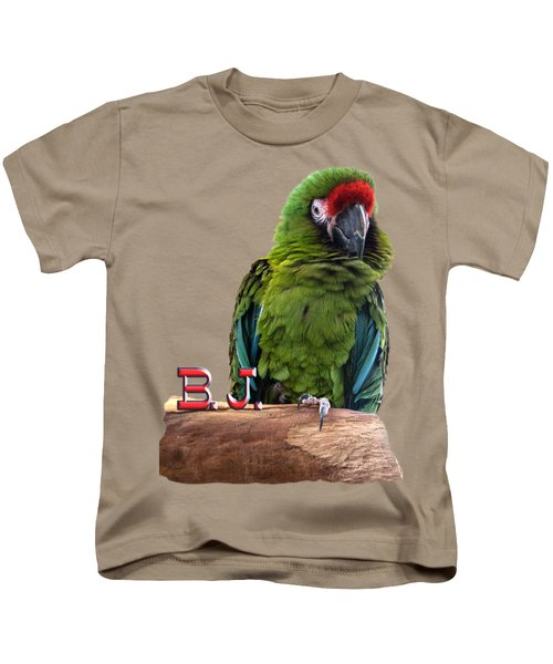 B. J., The Military Macaw Kids T-Shirt by Zazu's House Parrot Sanctuary