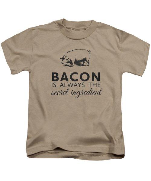 Bacon Is Always The Secret Ingredient Kids T-Shirt by Nancy Ingersoll