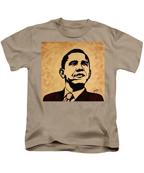 Barack Obama Original Coffee Painting Kids T-Shirt by Georgeta  Blanaru