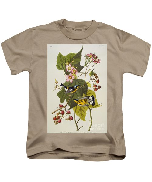Black And Yellow Warbler Kids T-Shirt by John James Audubon