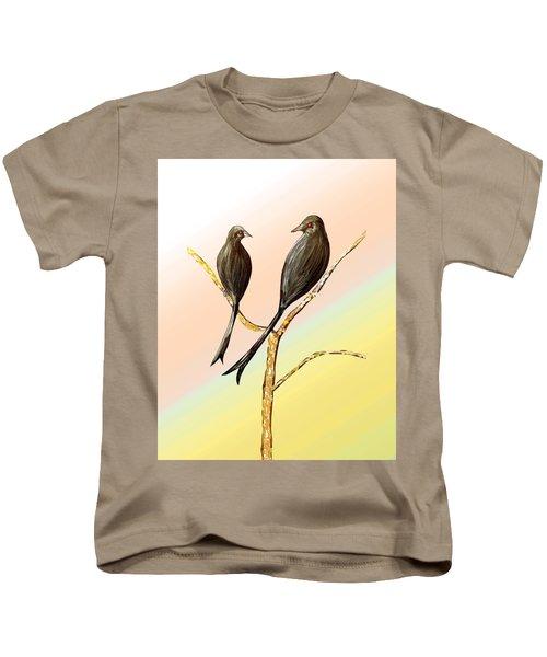 Black Drongos B Kids T-Shirt by Thecla Correya