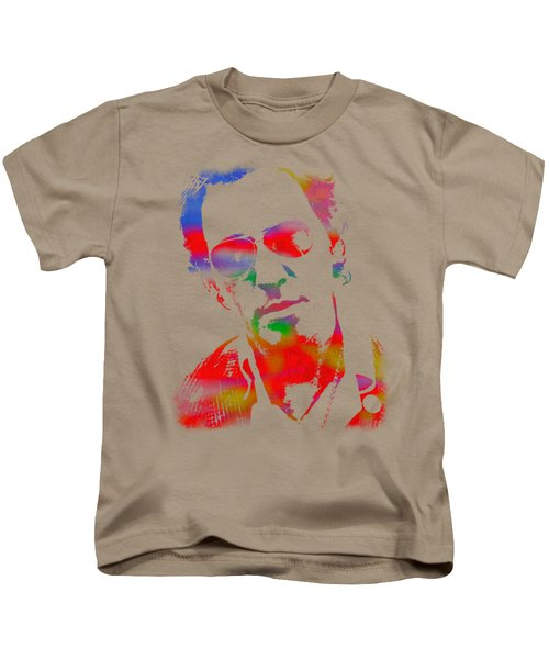 Bruce Springsteen Watercolor Portrait On Worn Distressed Canvas Kids T-Shirt by Design Turnpike