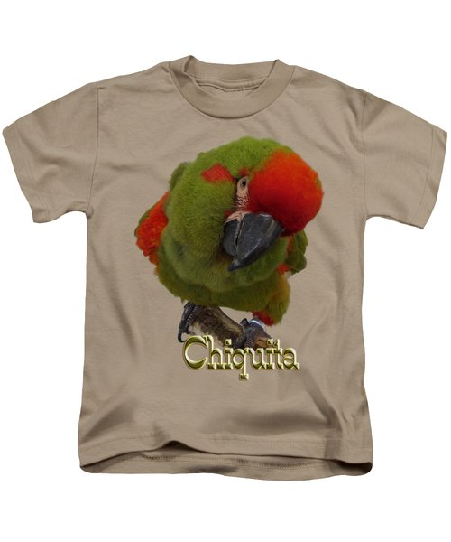 Chiquita, A Red-front Macaw Kids T-Shirt by Zazu's House Parrot Sanctuary