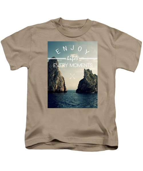 Enjoy Life Every Momens Kids T-Shirt by Mark Ashkenazi