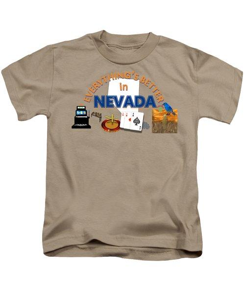 Everything's Better In Nevada Kids T-Shirt by Pharris Art
