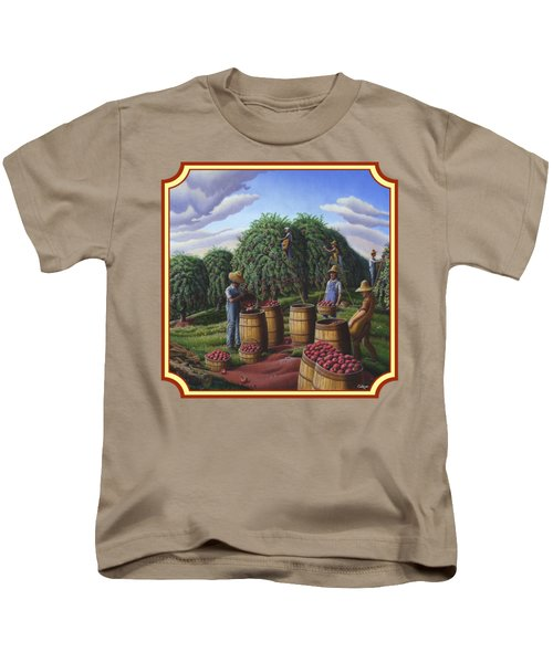 Farm Americana - Autumn Apple Harvest Country Landscape - Square Format Kids T-Shirt by Walt Curlee