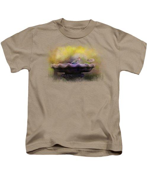 Finches On The Bird Bath Kids T-Shirt by Jai Johnson