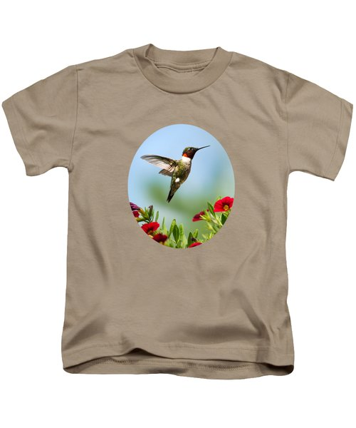 Hummingbird Frolic With Flowers Kids T-Shirt by Christina Rollo