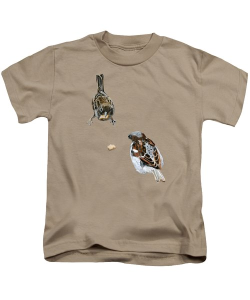 Hungry Sparrows Kids T-Shirt by Birgit Jentsch