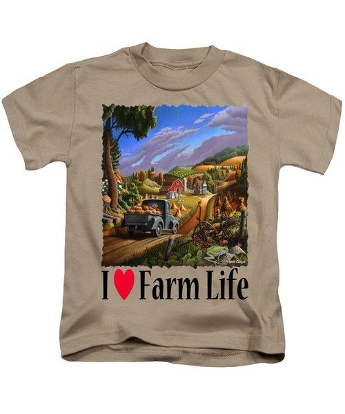 I Love Farm Life - Taking Pumpkins To Market - Appalachian Farm Landscape Kids T-Shirt by Walt Curlee