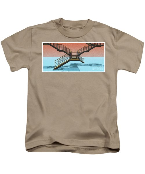 Large Stair 38 On Cyan And Strange Red Background Abstract Arhitecture Kids T-Shirt by Pablo Franchi