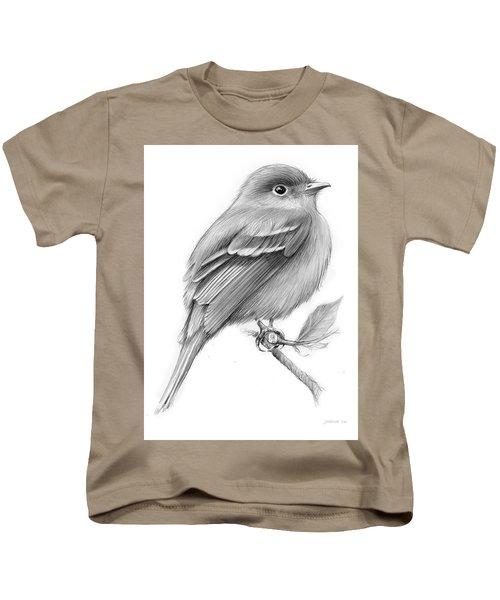 Least Flycatcher Kids T-Shirt by Greg Joens