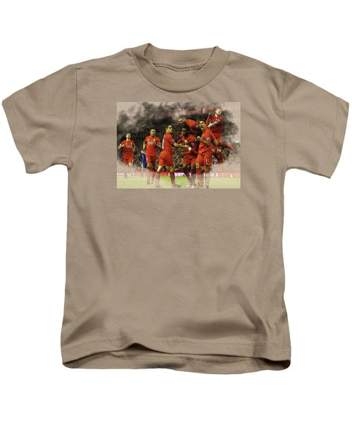 Liverpool V Leicester City Kids T-Shirt by Don Kuing