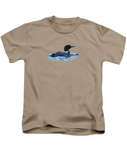 Male Mating Common Loon Kids T-Shirt by Daniel Hebard